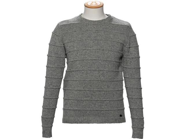 Alchemy Equipment 3GG Lambswool Tweed Stripe Stitch Pull Col ras-du-cou Homme, grey tweed